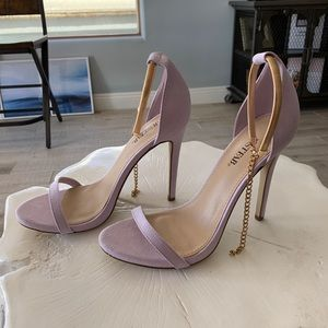 JustFab Lavender Heels with Gold strap